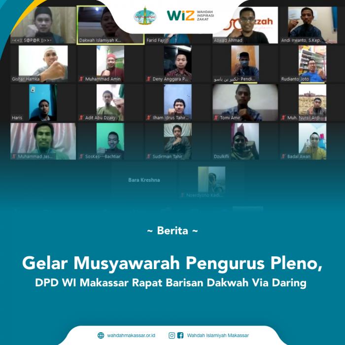 Gelar Musyawarah Pengurus Pleno, DPD WI Makassar Rapat Barisan Dakwah Via Daring